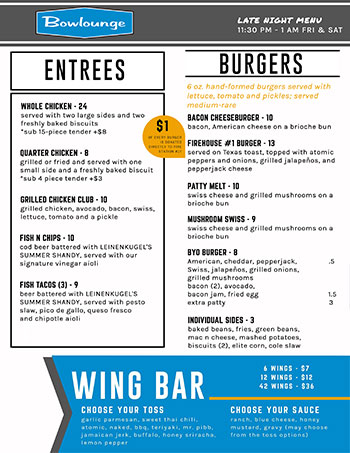BOWLOUNGE - Food - Entrees / Burgers / Wings